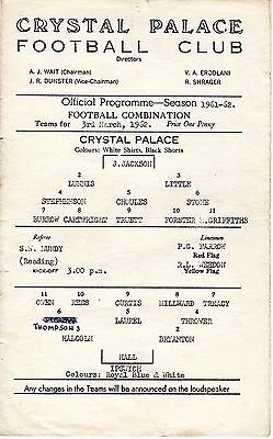 Crystal Palace v Ipswich Town Reserves Programme 3.3.1962