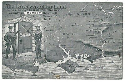 DORSET Doorway of England, No Germans Admitted, WW1 Postcard Posted 1918