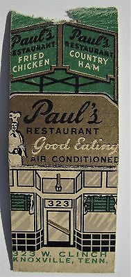 Antique  Matchbook Cover Paul's Restaurant Fried Chicken Knoxville Tenn