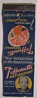 Antique  Matchbook Cover Toffenetti Restaurant Broadway 43Rd Ave New York