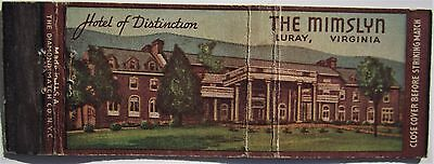 Antique  Matchbook Cover Mimslyn Hotel Luray Virginia