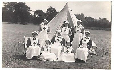 SAXMUNDHAM Nurses Wearing medals Bury Inspection, RP Postcard Unused 1911