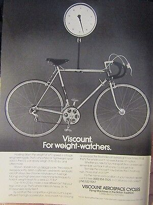1975 Viscount Aerospace Bike Weight Watchers Original Print Ad 8.5 x 10.5""