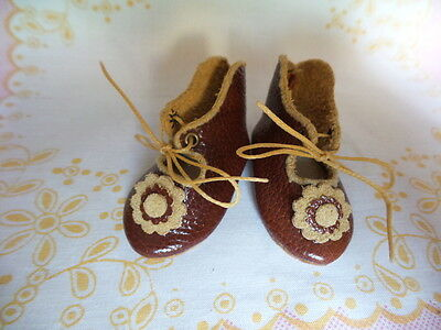 "Leather Doll Shoes 2 1/4"" (5,5 cm) for Vintage Antique Doll"