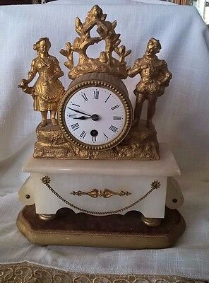 19th Century French Ornate Gilt Figural Mantle Clock,working well