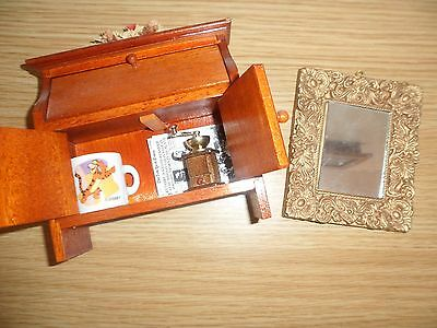 dolls house mirrow and writing desk