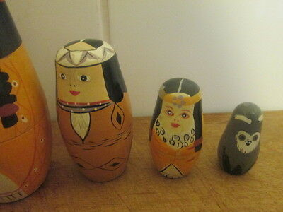 very rare set of russian dolls depicting red indians