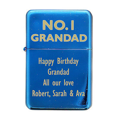 Personalised, Engraved No.1 Grandad Lighter, Silver, Blue, Red, Christmas