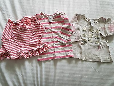 3 x baby girl ling sleeve tops, size 3-6 months (00), VGUC