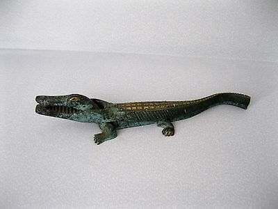 Alter Messing-Nussknacker Krokodil Alligator 18 cm