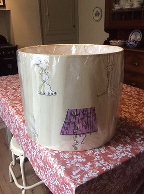 new large sized lamp shade cream pink purple with lighting motif