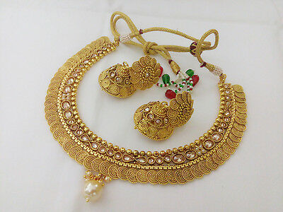 Indian Jewelry Necklace Set Bollywood Ethnic Gold Plated Traditional Antique Set