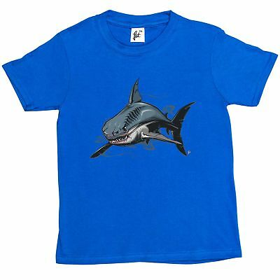 Scary Great White Shark With Blood On Face Kids Boys T-Shirt
