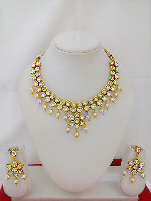 Indian Jewelry Kundan Necklace Set Bollywood Ethnic Gold Plated Traditional Set