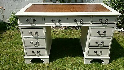 Superb Painted Reproduction Leather top Pedestal Desk