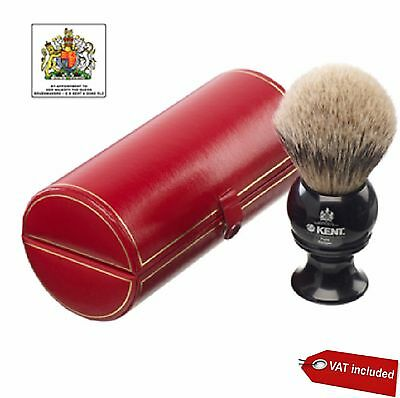 Kent Large, Pure Silver-Tipped Badger Shaving Brush, Black ,Perfect Gift For Him