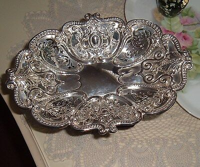Antique Victorian Silver Pierced Oval Bowl on Pedestal Sheffield 1892