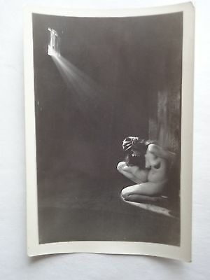 VINTAGE 1920s B&W 3 x 5 Photo-Imprisoned Chained Nude Girl in Dungeon Cell