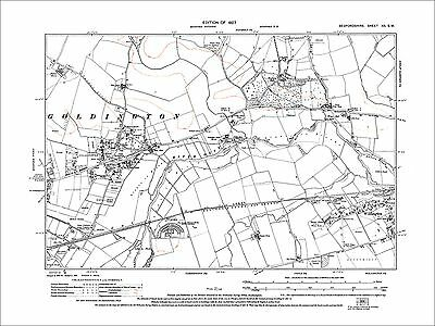 Bedford (E), Goldington, Willington (W), old map Bedfordshire 1927: 12SW