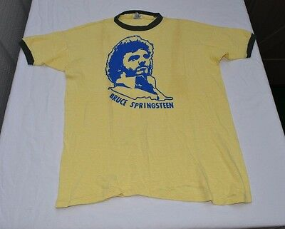 VINTAGE BRUCE SPRINGSTEEN 1970's Yellow T-SHIRT LOGO SCREEN PRINT Large THE BOSS