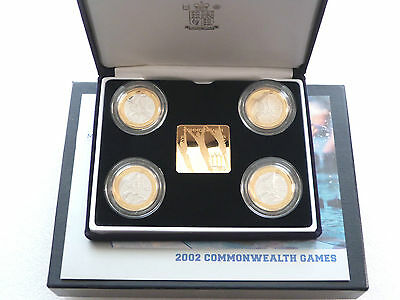2002 XVII Commonwealth Games £2 Two Pound Silver Proof 4 Coin Set Box Coa