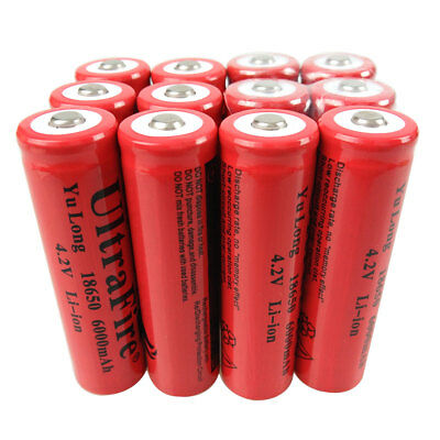 1/2/4/6/8/10X 18650 Batterie 6000mAh 3.7V-4.2V Li-ion Rechargeable Battery Accu