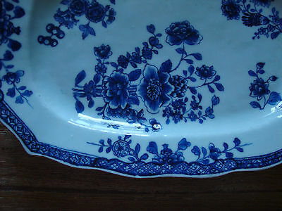 Circa 1760 Chinese Export Chien-lung Blue and White Platter! Ochre Rim! Molded!