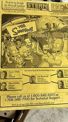 THE SIMPSONS PINBALL PARTY, 2003 Pinball Manual & Schematics
