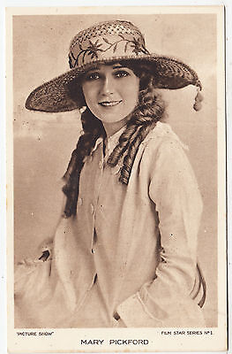 MARY PICKFORD - Picture Show Film Star Series #1 - c1910s era Cinema postcard