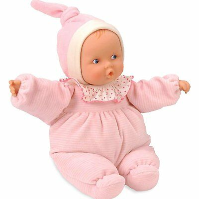 """Corolle DOLL 11"""" BABIPOUCE PINK STRIPED Vinyl Baby Play France Blue Eyes NEW"""