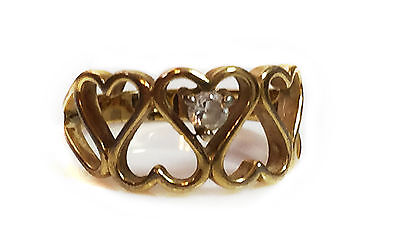 Vintage Women's Heart Shaped Gold tone Ring with Glass Rhinestone stone size 6