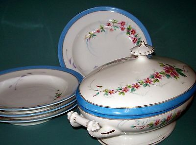 Antique Porcelain White Blue Covered Tureen and Rimmed Soup Plates Incised Mark