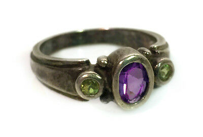 Vintage 925 SJ Sterling Silver Womans Ring SIze 7 with Semi-Precious Gemstones