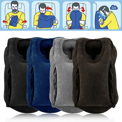 Inflatable Air Travel Pillow Filled Airplane Cushion Neck Comfortable Support I5