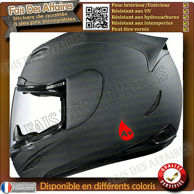 2 stickers autocollant Groupe Sanguin rhesus  O, A, B, AB casque moto , skie