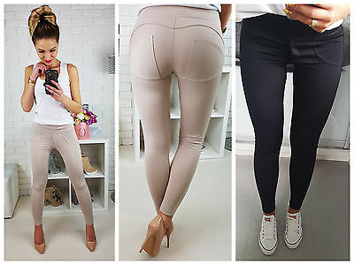 Women Push Up Leggings Black Stretchy Trousers Shaping Effect 6 8 10 12