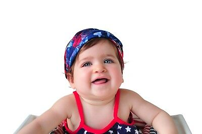 Baby Girl American Flag 4th of July Soft Turban Headband Red White and Blue