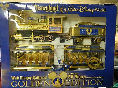 WALT DISNEY DISNEYLAND RESORT 50 YEARS GOLDEN EDITION RAILROAD TRAIN SET in BOX
