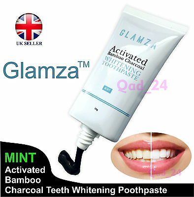 GLAMZA Activated Charcoal Teeth Whitening Tooth 50g Tube Black -PASTE TOOTHPASTE