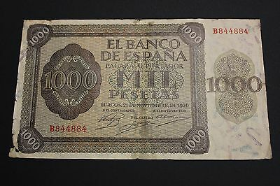 1936 1000 Pesetas Burgos Spain Banknote Billete