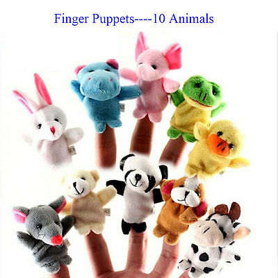 2/10Pcs Finger Puppet Cloth Plush Doll Baby Educational Hand Cartoon Toy Cute SU