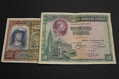 1928-1931 500 Pesetas Lote 2 Spain Banknotes Billetes