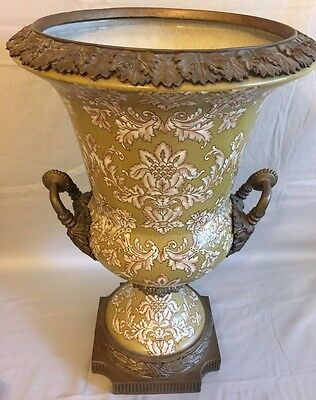 Large Gorgeous Vintage Ceramic and Brass Vase