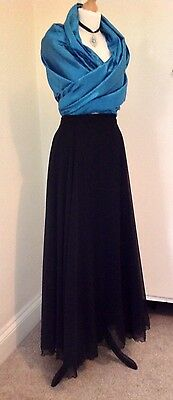 1960s Vintage Trudie McCarthy Ltd Black Chiffon Floaty Maxi Evening Skirt UK 12
