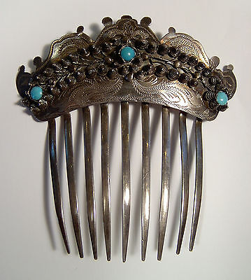 19c American Coin Silver Hair Comb Bright cut with wire work jewelled Victorian