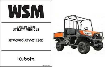 Kubota RTV-X900, RTV-X1120D UTV Service Manual on a CD
