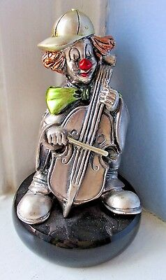 "Mida Argento Clown & CELLO Hand Crafted STERLING SILVER Over Resin 3-1/2"" Italy"