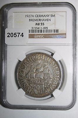1927A Germany Weimar Rep. Bremerhaven 5 Mark NGC AU 55