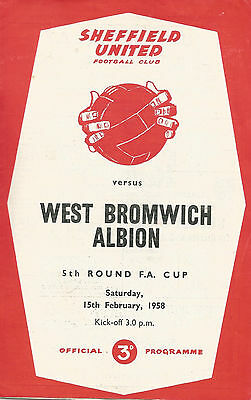 Sheffield United v West Bromwich Albion, 15 February 1958, FA Cup