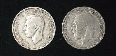 Lot of 2 Great Britain Half 1/2 Crown silver coins 1927 1937